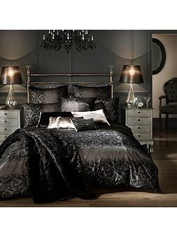 Black flock voile duvet cover