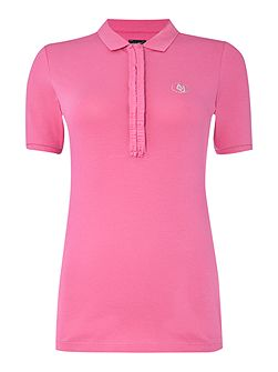 Short sleeve jersey ruffle collar polo