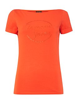 Short sleeve boat neck embellished logo top