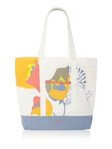 Botanical blue large tote bag