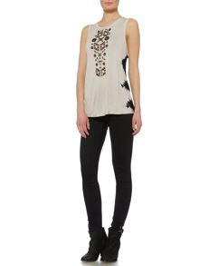 Label Lab Metallic sequin tie dye side vest