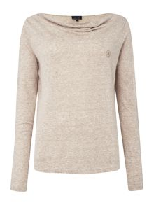 Armani Jeans Long sleeve cowl neck logo top