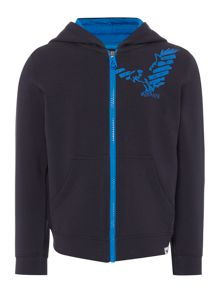 Armani Junior Boys Eagle Logo Zip Through Sweatshirt