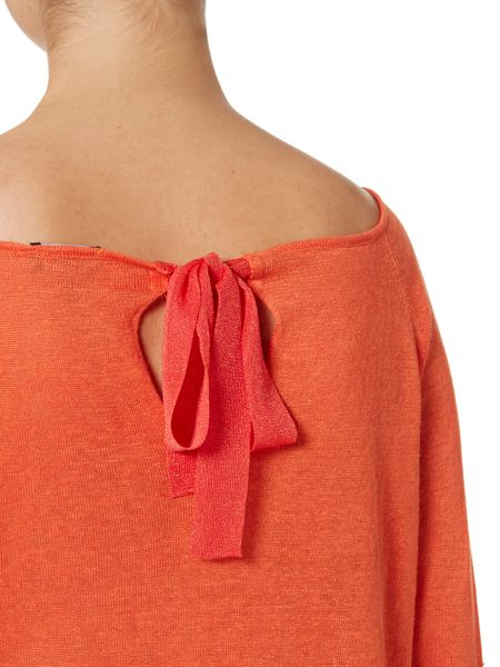 Armani Jeans Long sleeve linen mix bow back top