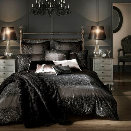 Kylie Minogue Black flock voile housewife pillowcase