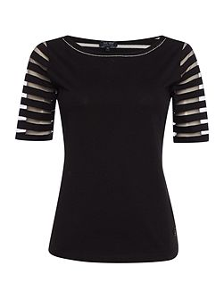 Short sleeve sheer stripe jersey top
