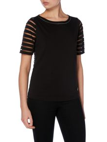 Armani Jeans Short sleeve sheer stripe jersey top