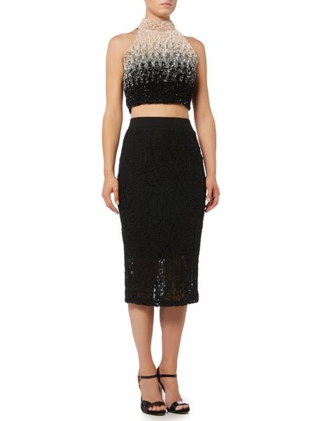 Lace and Beads Ombre Sequin Crop Top