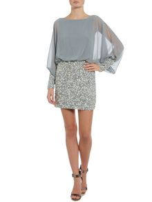 Lace and Beads Long Sleeved Blouson Top Sequin Skirt Dress