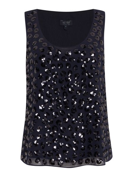 Armani Jeans Sleeveless sequin spot top