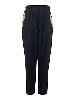 Embellished pocket slouch trousers