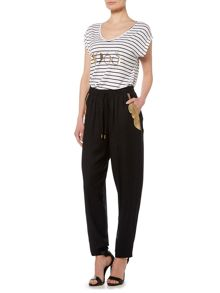 Biba Embellished pocket slouch trousers