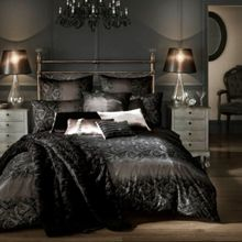 Kylie Minogue Black Flock Voile bed linen range