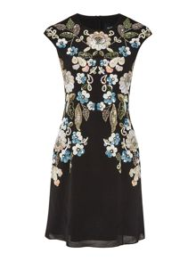Needle and Thread Mini dress with oriental floral embellishment