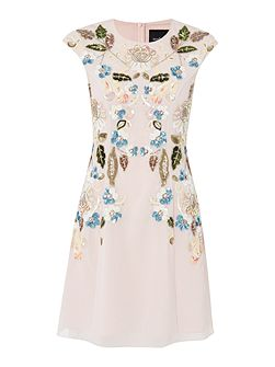 Mini dress with oriental floral embellishment