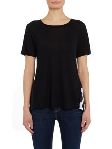 Armani Jeans Short sleeve woven top with giraffe print back
