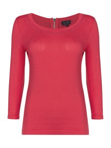 Armani Jeans 3/4 sleeve jumper with stud neck detail