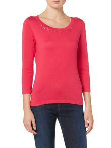 3/4 sleeve jumper with stud neck detail