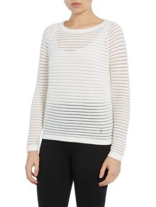 Long sleeve sheer stripe jumper