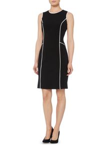 Sleeveless shift dress with contrast piping