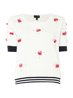 Short sleeve embellished cropped jumper