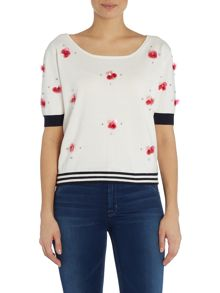 Armani Jeans Short sleeve embellished cropped jumper