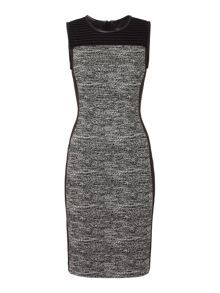 Episode Shift dress with tweed panel and PU trim