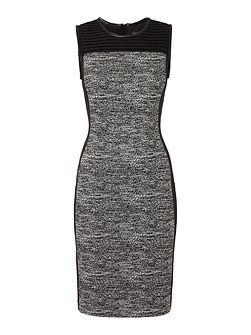 Shift dress with tweed panel and PU trim