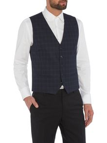 Selected Homme Trey Navy Check Waistcoat