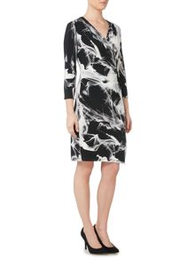 Episode Jersey wrap print dress in shadow print