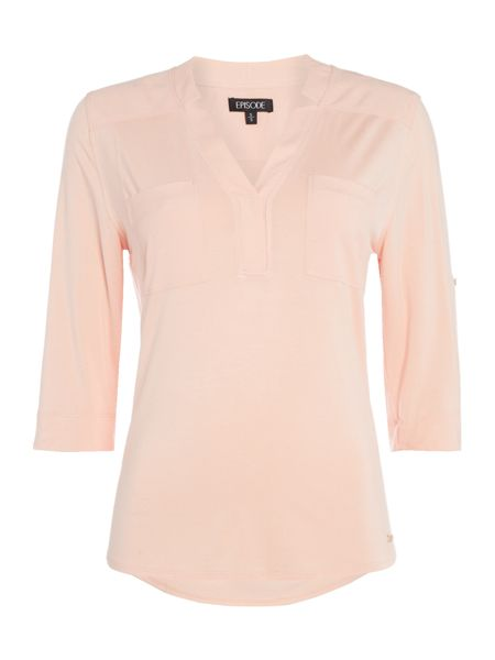 Episode Jersey blouse with role sleeve and front pockets