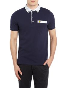 Lyle and Scott Oxford Stripe Woven Collar Short Sleeve Polo