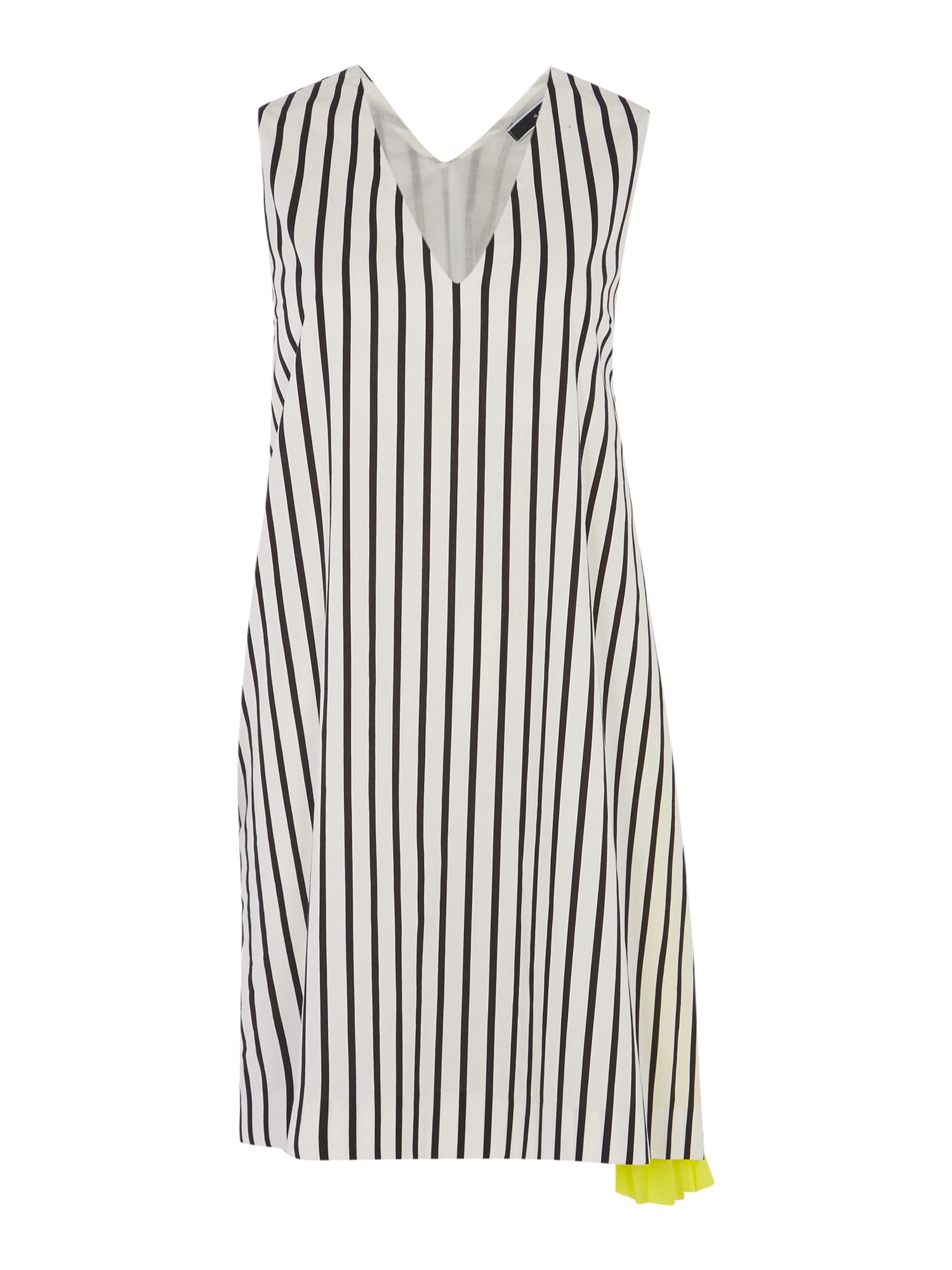 Sportmax Code Sportmax Code Pamir striped V neck dress with side pleat detail, White