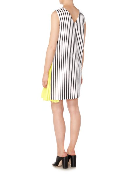 Sportmax Code Pamir striped V neck dress with side pleat detail
