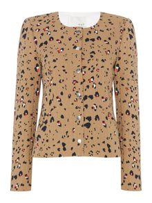 Oui Animal print collarless jacket