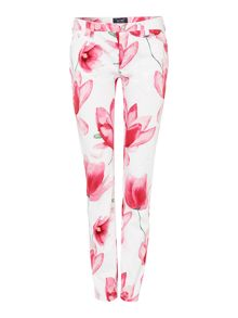 J28 orchid mid rise skinny floral print jean