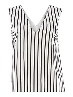 Unanime striped v neck pleated side top