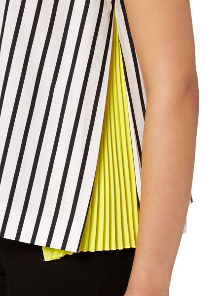 Sportmax Code Unanime striped v neck pleated side top