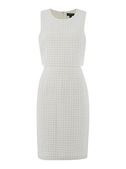 Dress with eyelet detail and pop-over top