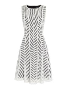 Episode Sleeveless chevron fit and flare dress