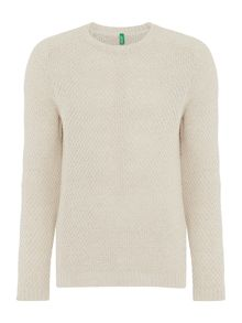 Benetton Textured Crew Neck Jumper