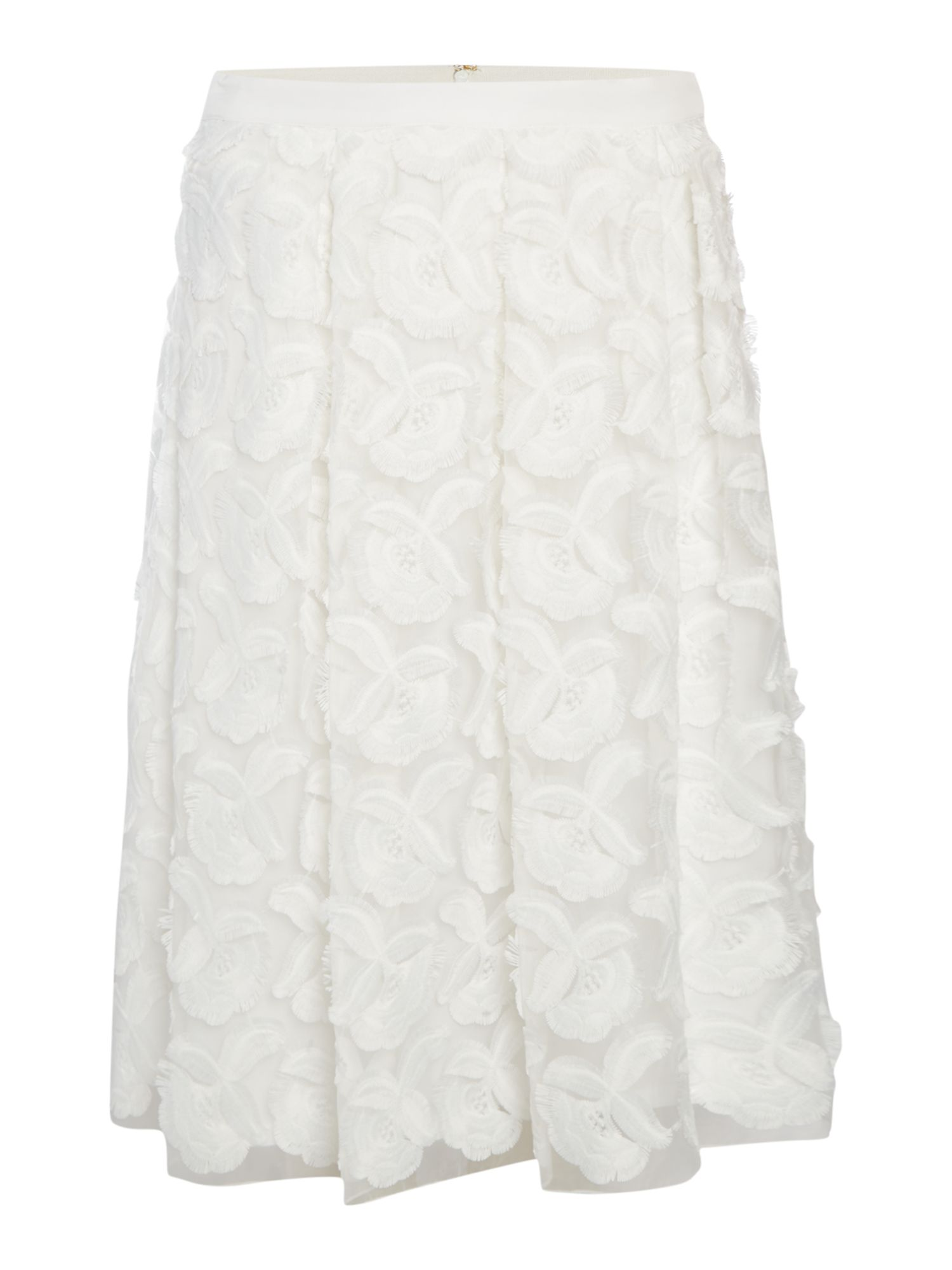 Episode A line skirt with 3D flowers, White