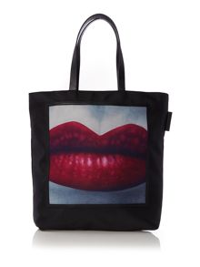 Lucy lips black and purple tote bag