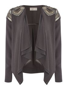Label Lab Embellished shoulder waterfall jacket