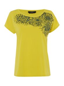 Max Mara Cacao short sleeve t-shirt with floral detail