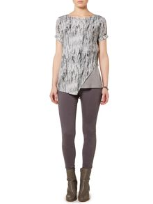 Gray & Willow Grassland print panelled asymmetric top