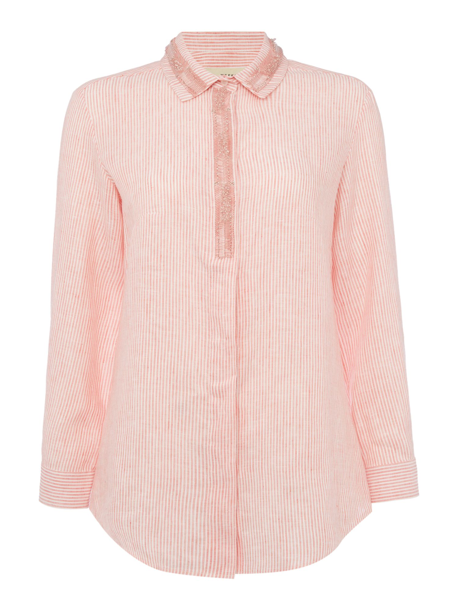 Max Mara Weekend Mirto long sleeve tonal stripe embellished shirt, Coral