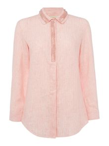 Max Mara Mirto long sleeve tonal stripe embellished shirt