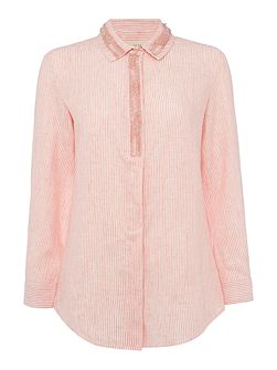 Mirto long sleeve tonal stripe embellished shirt