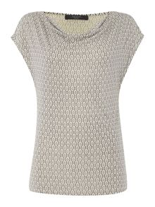 Max Mara Palermo cowl neck top with jacquard print
